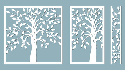 Laser cut. vector design. Laser cutting template tree. paper cutting. plotter and screen printing. serigraphy.