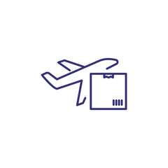 Air delivery line icon. Aircraft, parcel, envelope. Logistics concept. Can be used for topics like shipment, transportation, postal service