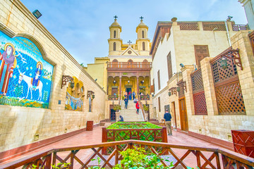 The church's courtyard in Coptic district in Cairo, Egypt Papier Peint