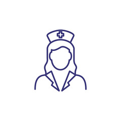 Doctor line icon. Woman in lab coat and hat. Occupation concept. Can be used for topics like medicine, hospital, clinic