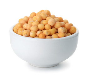 Ceramics bowl full of dry yellow peas