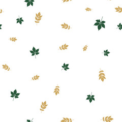 Ash and chestnut leaves pattern seamless
