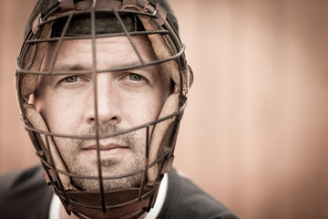 Portrait of a Baseball Player with Catcher's Mask