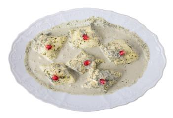Georgian homemade soft cheese rolls.