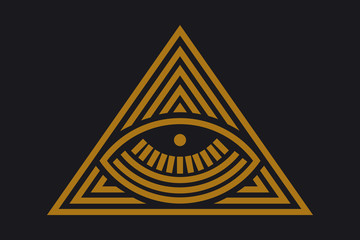 All seeing eye in delta triangle. Pyramid and freemasonry icon, new world order emblem