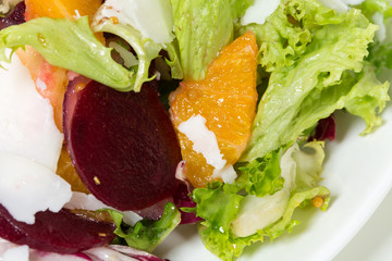 Beet salad with oranges and goat cheese.