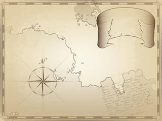old nautical chart on yellowed paper. a twisted ribbon for your text. the image of the compass and unreadable notes by hand