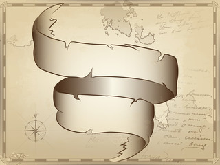 large twisted ribbon of parchment on the background of an ancient nautical map. the image of the compass and unreadable notes by hand