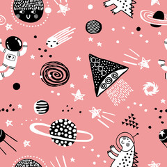 Baby seamless pattern with planets, stars and spaceship. Hand drawn overlapping background for your design. Vector childish pattern for fabric, textile, nursery wallpaper.