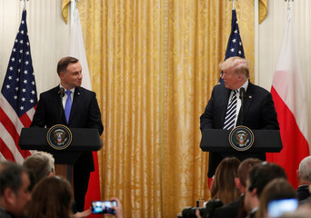 U.S. President Trump holds joint news conference with Poland's President Duda at the White House in Washington