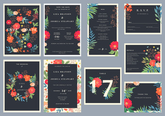 Wedding set with floral background. Colorful invitation, cards,