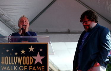 Actor Mike White speaks at the unveiling of actor Jack Black's star on the Hollywood Walk of Fame in Los Angeles