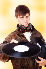 Man with acoustic LPs