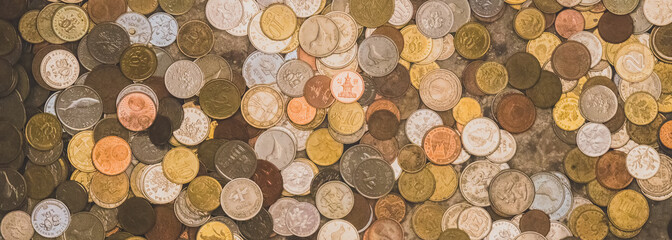Lots of different coins. Close-up view.