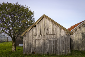 Old wooden and weathered barn, Norway