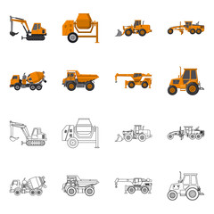 Vector design of build and construction sign. Set of build and machinery stock vector illustration.