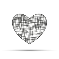 Heart from curved black lines