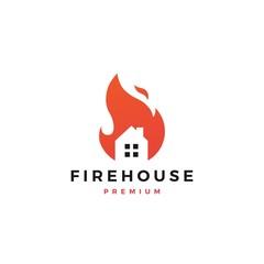 fire house logo flame vector icon design inspirations