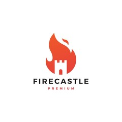 fire castle logo flame vector icon design inspirations