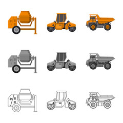 Vector illustration of build and construction icon. Collection of build and machinery stock vector illustration.