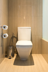 Interior of the modern toilet in the bathroom.