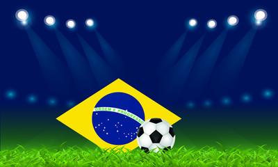 Brazilian football, vector illustration, ball and Brazilian flag at the football stadium