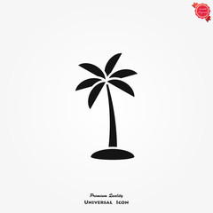Palm tree vector icon on white background