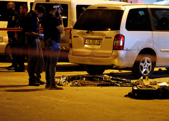 Israeli police seal off the area of a suspected stabbing attack near Damascus Gate in Jerusalem