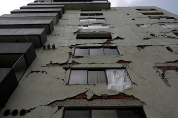 A general view shows a building  that was damaged by the devastating earthquake, that took place in Mexico City last year