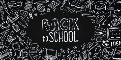 Back to School background with place for text. Hand drawn school supplies - big set. Doodle lettering and school object collection. Sketch icon. Education Concept. Vector illustration.