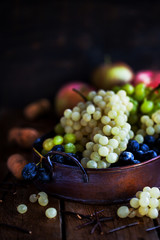 Fresh ripe white, green and purple grape