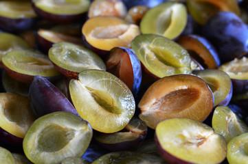 Close up of fresh plum slices