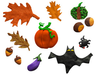 Handmade vector Plasticine set for Halloween and autumn. Illustration of leaf, bat,  pumpkin, acorn, spider, conker, isolated on white background