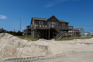 Houses built near the beach are seen after the pass of Hurricane Florence, now downgraded to a tropical depression in Rodanthe, North Carolina