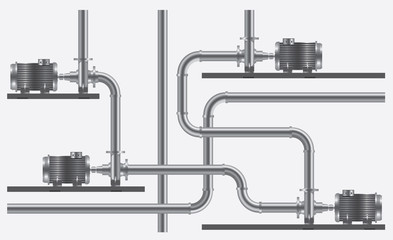 disposal of pumps and pipes on white background