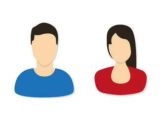 Avatar man and women. Flat vector illustration.