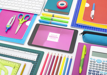 Tablet with School Supplies Mockup
