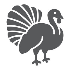 Turkey bird glyph icon, animal and farm, poultry sign, vector graphics, a solid pattern on a white background.