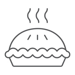 Pie thin line icon, pastry and food, cake sign, vector graphics, a linear pattern