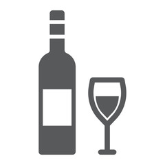 Wine glyph icon, alcohol and drink, glass sign, vector graphics, a solid pattern on a white background.