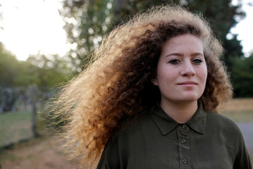 Palestinian teenager Ahed Tamimi, poses before a conference in Nantes
