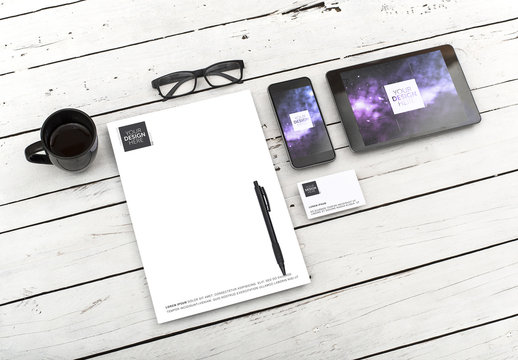 Letterhead, Business Card, Smartphone and Tablet Mockup