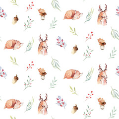 Cute watercolor baby deer animal seamless pattern, nursery isolated illustration for children clothing, patterns. Watercolor Hand drawn boho image Perfect for phone cases design, nursery posters