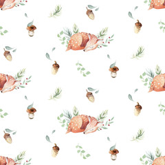 Fototapete - Cute watercolor baby deer animal seamless pattern, nursery isolated illustration for children clothing, patterns. Watercolor Hand drawn boho image Perfect for phone cases design, nursery posters