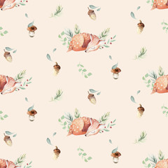 Wall Mural - Cute watercolor baby deer animal seamless pattern, nursery isolated illustration for children clothing, patterns. Watercolor Hand drawn boho image Perfect for phone cases design, nursery posters