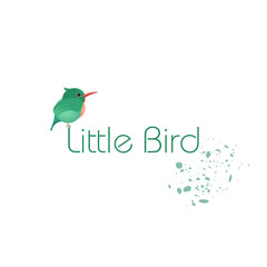 logo or icon. Green bird, small chick. Design business cards, postcards. vector