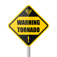 Warning tornado sign with text and tornado icon.