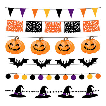 Set of Halloween or Dia de los Muertos, Day of the Dea garlands with lights, bunting flags, pumpkins and bats. Garden party decorations. Isolated vector objects.