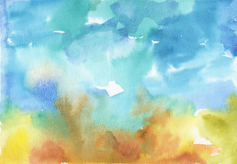 Abstract colorful watercolor background. Texture of painted aquarelle paper. Blue, orange, yellow, green colors.