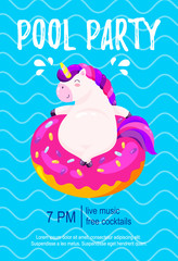Pool party invitation. Template, background for banner, flyer. Vector illustration with cute unicorn